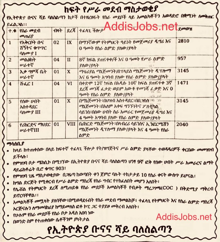 Addis Zemen Vacancy 2019