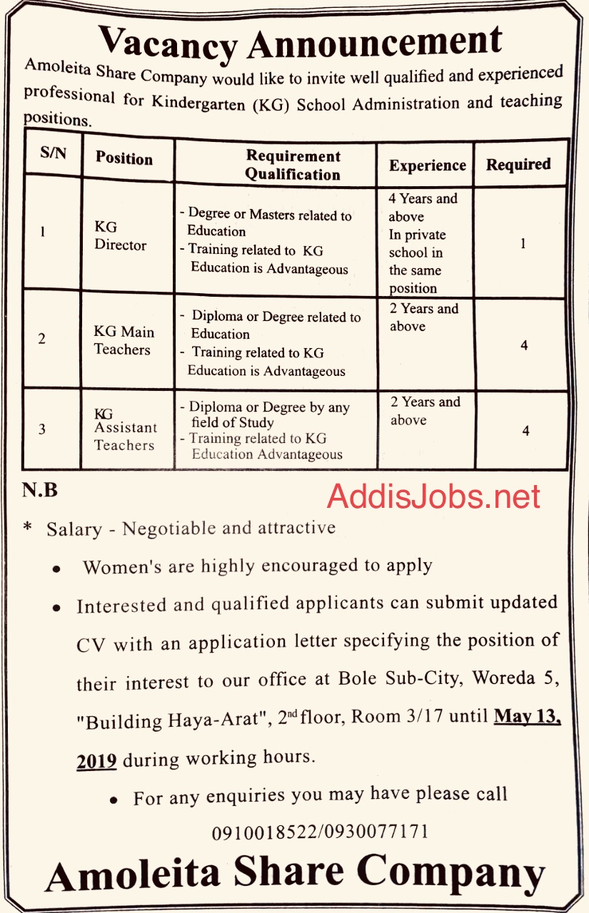 New Jobs for Secretary, Accounting, Teacher, Lawyer and More | AddisJobs