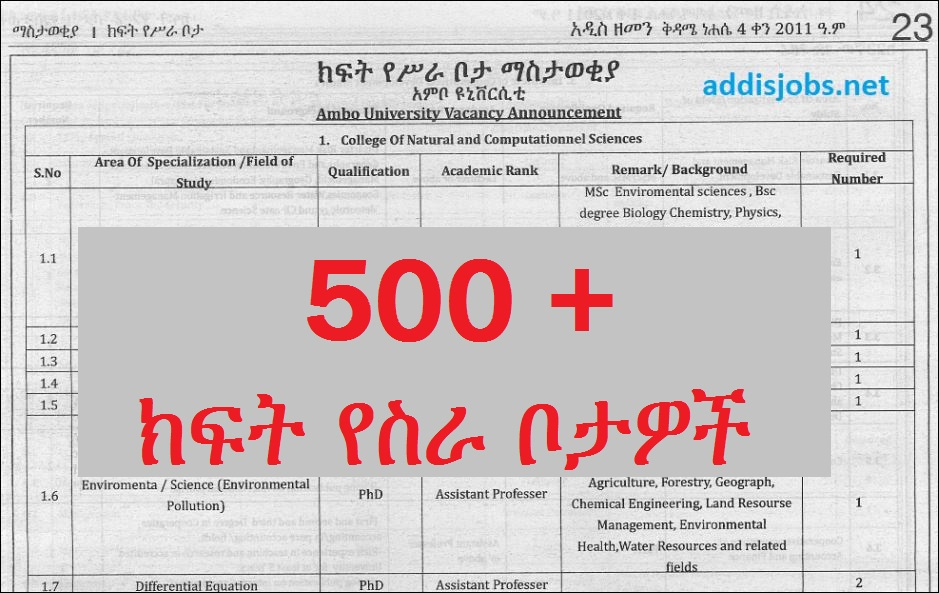 500+ Positions – Lecturer at Ambo University | AddisJobs