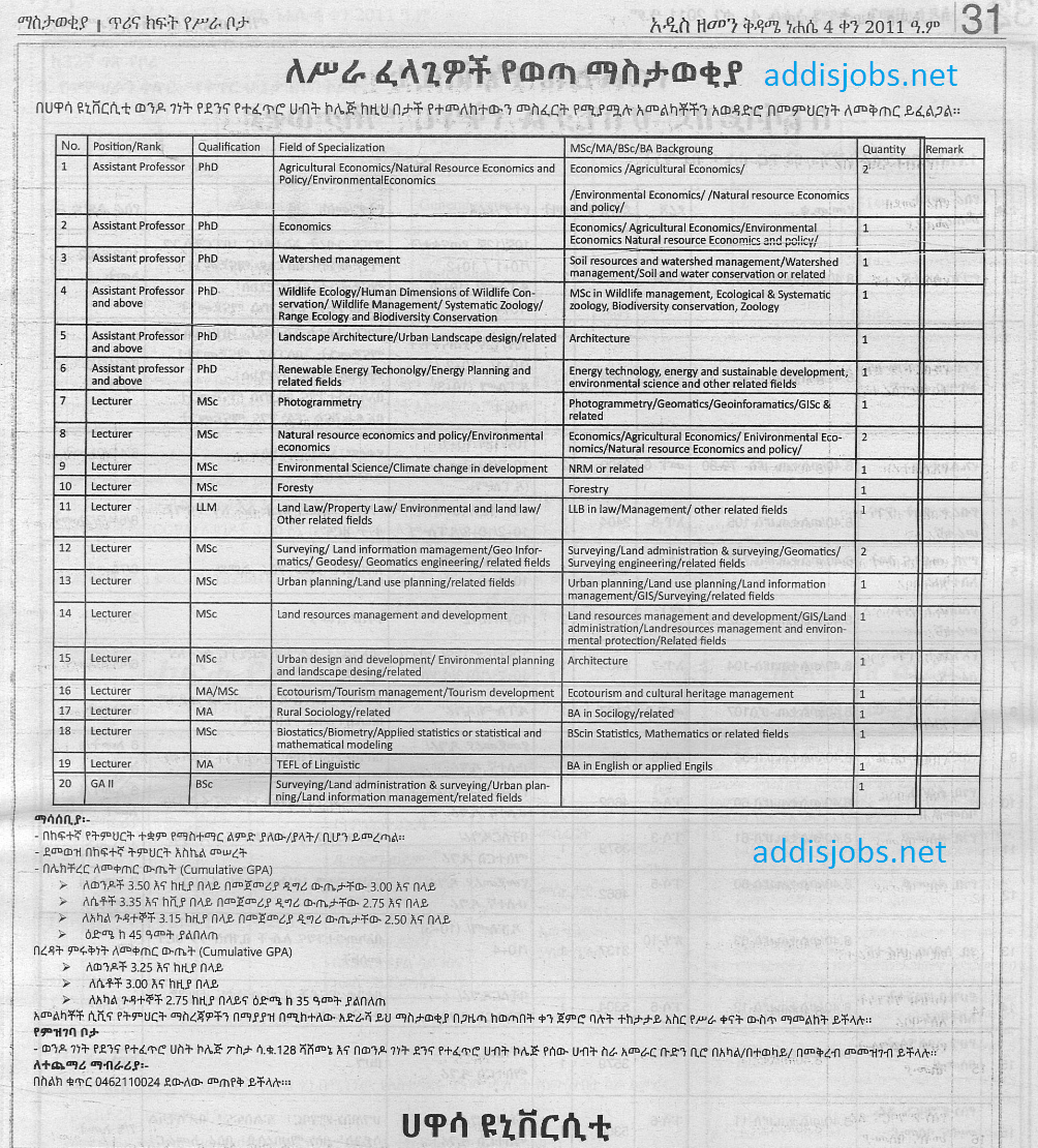 Lecturer at Hawassa University – 22 Positions | AddisJobs